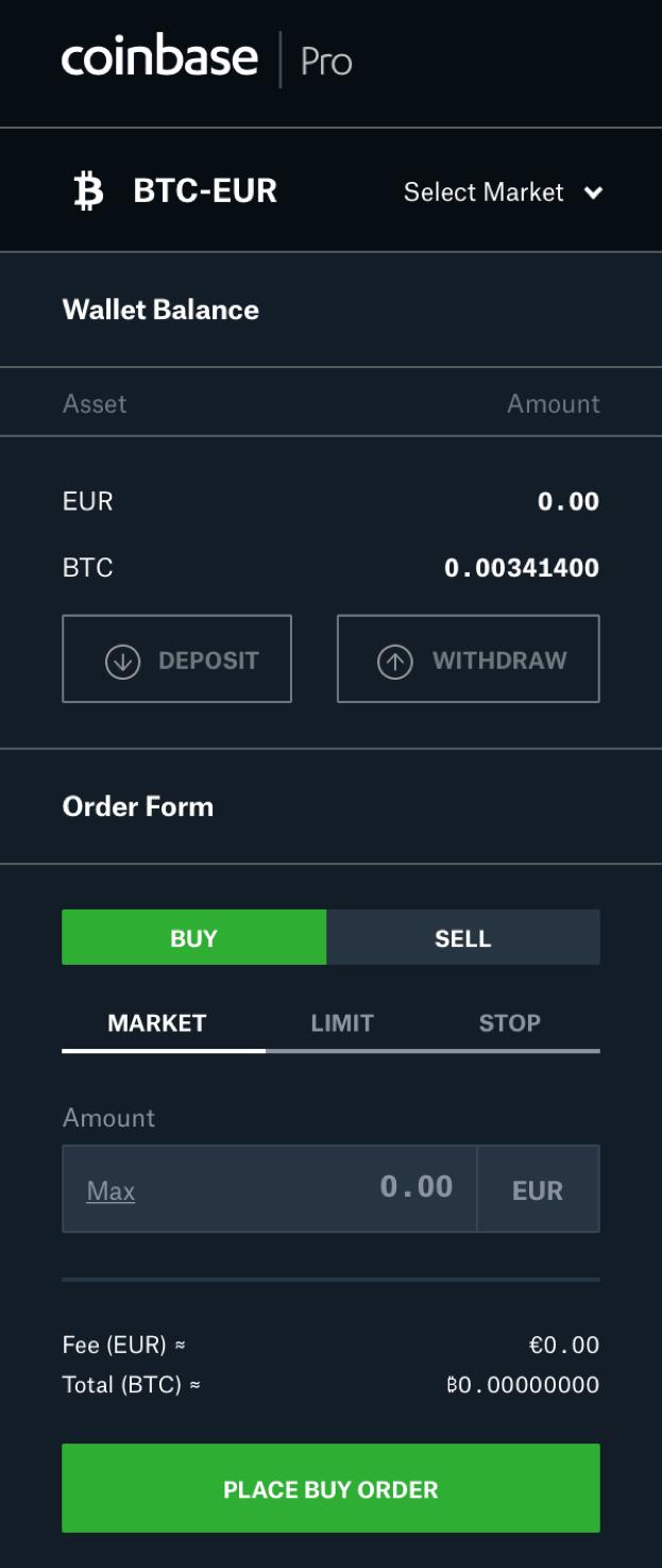CoinbasePRO, Bitcoin, kaufen